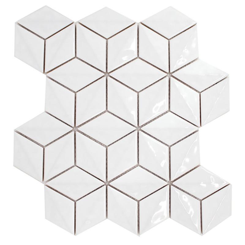 3d Interlocking Cube Tile Snow Peak By