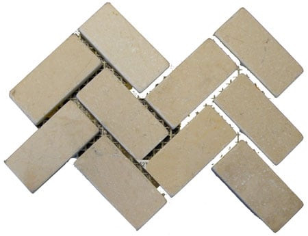 Tumbled Marble Herringbone Botticino