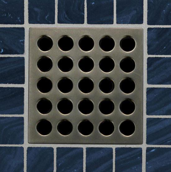 Square Shower Drain Grates Antique Pewter PVD