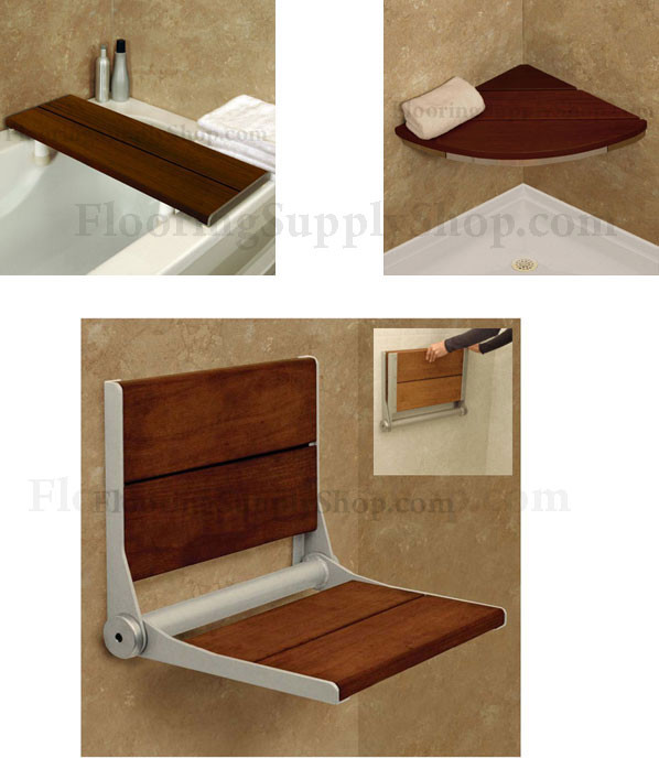 Invisia Shower and Bath Benches Brazilian walnut Support up-to 500 ...