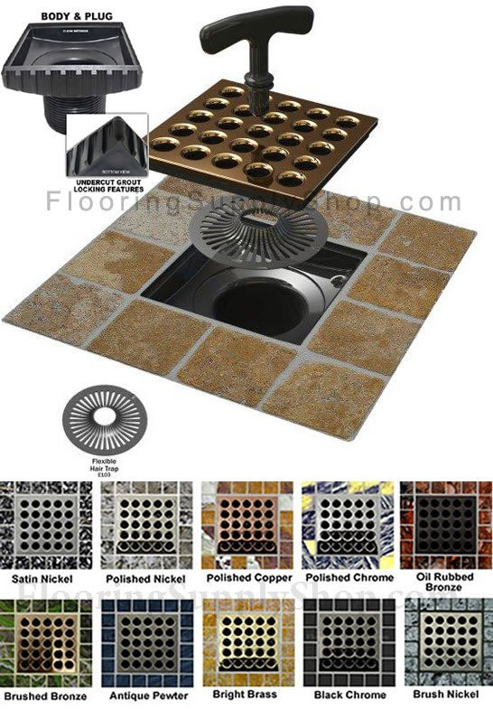 Ebbe Square shower drain cover, Ebbe shower drain, Square, colors shower drain cover, Shower construction, residential shower drain