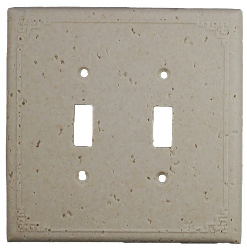Deco Electrical Plates Double Switch Geometric Ivory