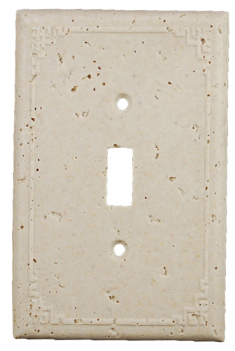 Deco Electrical Plates Single Switch Geometric Ivory