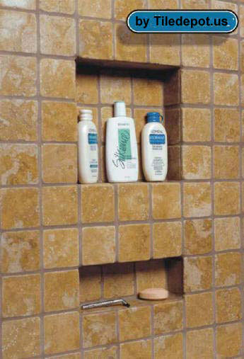 Duk liner, Cuurtis Resources, duk blue, recessed shower shelf, shower shelves, shower niches, flush mount shower shelves, tile shower wall shelves, large shower shelves, shower caddy, shower fixtures