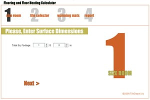 calculator, tile estimator, SunTouch heating calculator, SunTouch heating estimator, conversion, tile calculator, area of floor, cost calculator, radiant floor heat cost, tile design tool, tile patterns