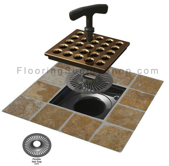 ebbe square shower drain body and strainer pvc