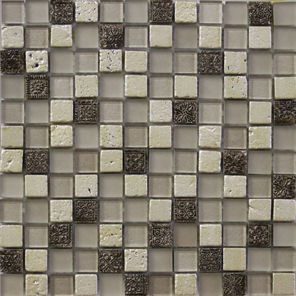 Glass and Art Marble Mosaic Ivory