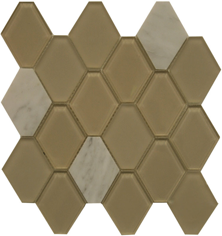 Glass and Stone Hexagon Mosaics Sand