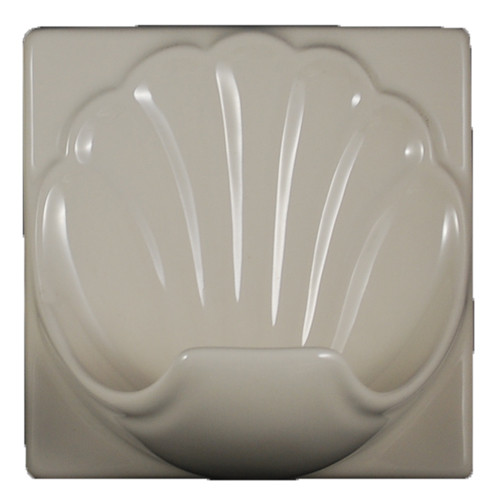 Porcelain Soap Dish Shell Large Bone Almond Glossy