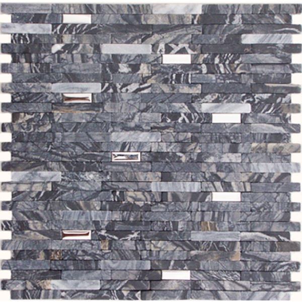 Marble and Stainless Steel Mixed Mosaic Dark Gray