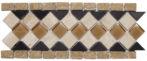 Glass Border Collection - Glass Stone mix 3 x 9