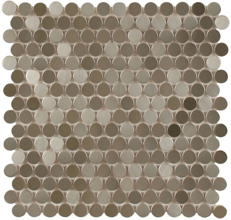 Mosaics Metal Tile Penny Round Stainless Steel Stippled