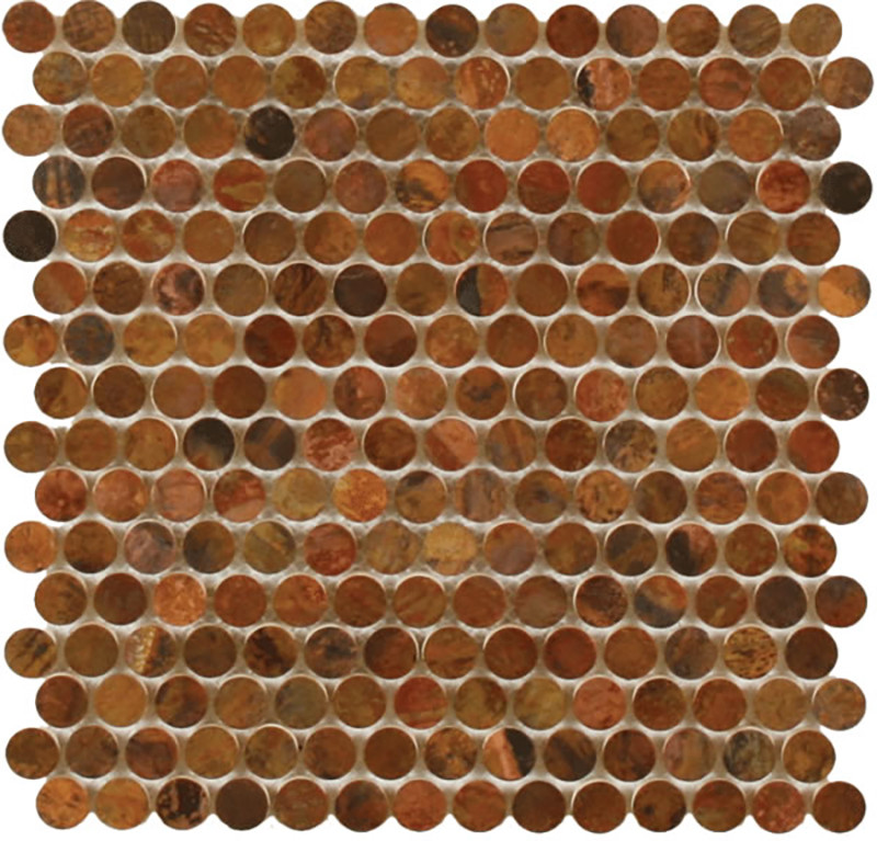 Mosaics Metal Tile Penny Round Antique Copper By