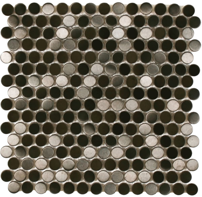 Mosaics Metal Tile Penny Round Black Stainless Steel Brushed