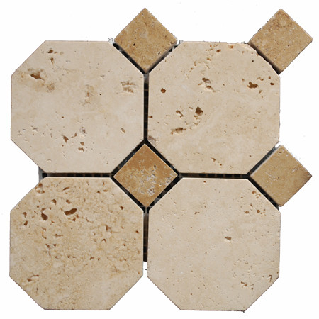 Polished Travertine 3 Octagonal Noce Ivory