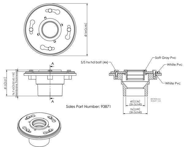 quartz linear shower drain cpe membrane fitting