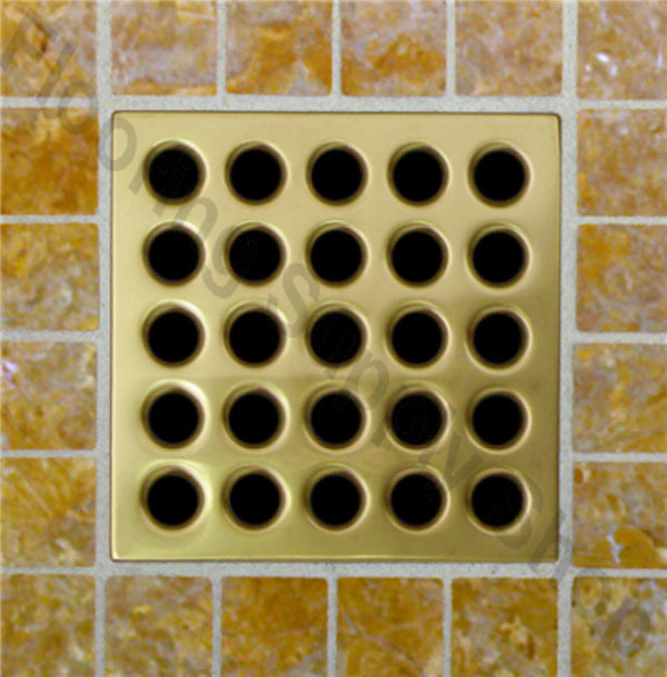 Square Shower Drain Bright Brass Pvd By Flooringsupplyshop Com