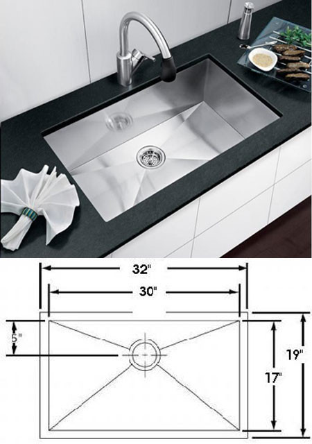Square Corner Sink 32 x 19, Stainless Steel Sinks, Kitchen Sinks ...