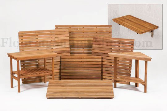 Teak Shower Triangle Bench Made in the USA Certified Plantation ...